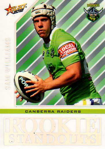 2012 NRL Champions Rookie Standouts #RS5 Sam Williams Raiders