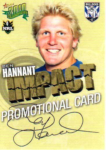 2010 NRL Champions PROMO Card Ben Hannant Bulldogs