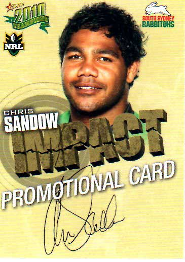 2010 NRL Champions PROMO Card Chris Sandow Rabbitohs