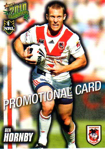 2010 NRL Champions PROMO Card Ben Hornby Dragons