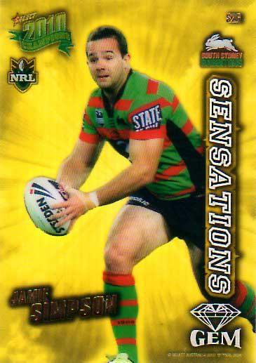 2010 NRL Champions Sensations Gem #S26 Jamie Simpson Rabbitohs