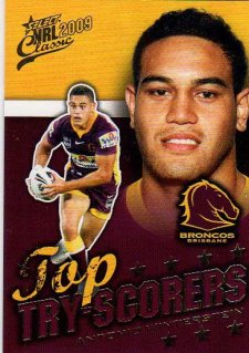 2009 NRL Classic Top Try Scorer TT1 Winterstein Broncos with Redeemed Predictor