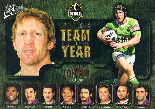 2009 NRL Classic TOTY #TY6 Alan Tongue Raiders