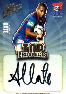 2009 NRL Classic Top Prospects Signature TP8 Akuila Uate Knights #105/300