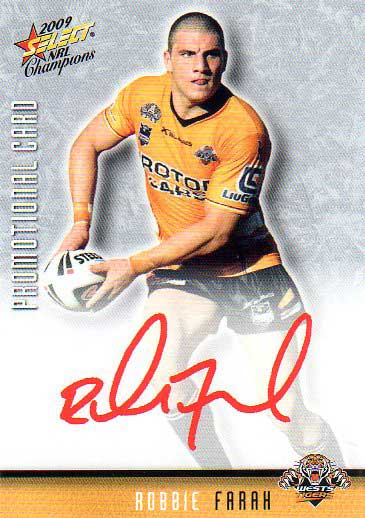2009 NRL Champions PROMO Card Robbie Farah Tigers