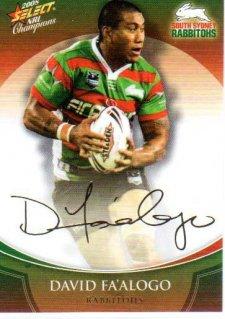 2008 NRL Champions Foil Signature #FS39 David Fa'alogo Rabbitohs