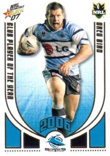 2007 NRL Invincible CPOTY CP4 Greg Bird Sharks