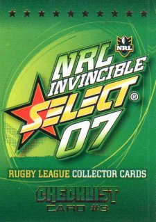 2007 NRL Invincible Common #3 Checklist 3