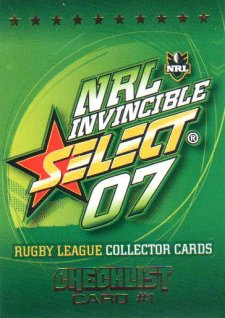2007 NRL Invincible Common #1 Checklist 1