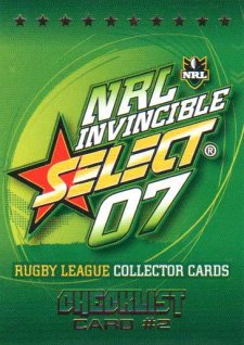 2007 NRL Invincible Common #2 Checklist 2