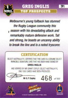2006 NRL Invincible Top Prospect Signature TP1 Greg Inglis Storm #468/500