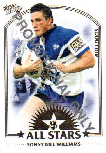 2006 NRL Invincible PROMO Card Sonny Bill Williams Bulldogs