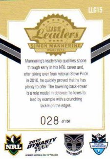 2012 NRL Dynasty Gold League Leader LLG15 Simon Mannering Warriors