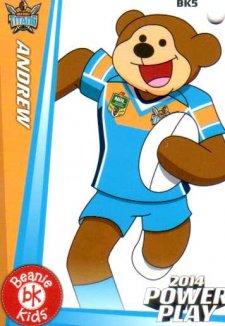 2014 NRL Power Play Beenie Kids Bag Tag BK5 Gold Coast Titans