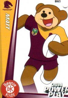 2014 NRL Power Play Beenie Kids Bag Tag BK1 Brisbane Broncos