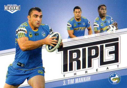 2013 NRL Elite Triple Threats TT27 Tim Mannah Eels Error Replacement Card