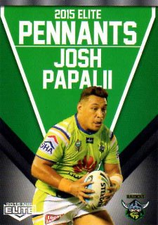 2015 NRL Elite Pennants #EP8 Josh Papalii Raiders