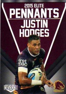 2015 NRL Elite Pennants #EP3 Justin Hodges Broncos