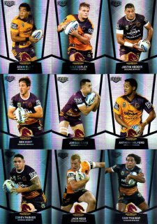 2015 NRL Elite 9-Card Silver Parallel Team Set Brisbane Broncos