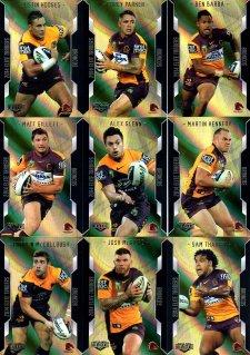 2014 NRL Elite 9-Card Gold Parallel Team Set Brisbane Broncos
