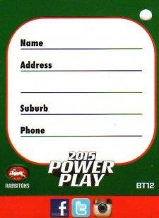 2015 NRL Power Play Bag Tag #BT12 Rabbitohs
