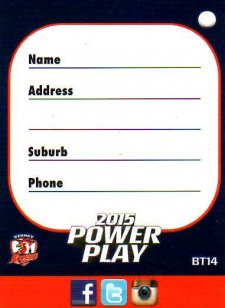 2015 NRL Power Play Bag Tag #BT14 Roosters