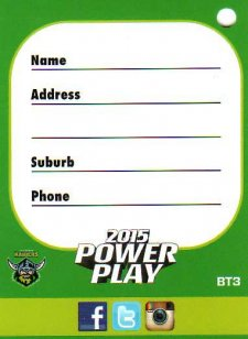 2015 NRL Power Play Bag Tag #BT3 Raiders