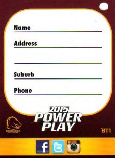 2015 NRL Power Play Bag Tag #BT1 Broncos