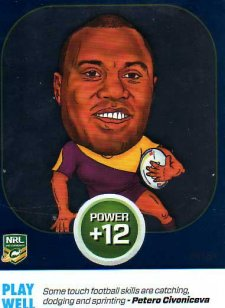 2015 NRL Power Play Power Card #PC21 Petero Civoniceva Broncos