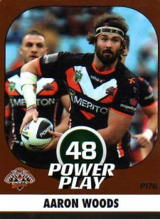 2015 NRL Power Play Parallel #176 Aaron Woods Tigers