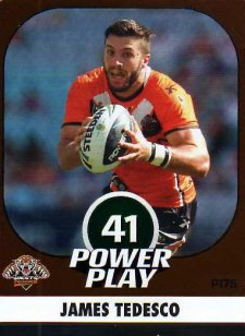 2015 NRL Power Play Parallel #175 James Tedesco Tigers