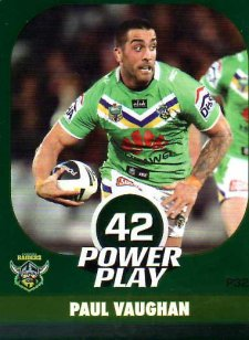 2015 NRL Power Play Parallel #32 Paul Vaughn Raiders