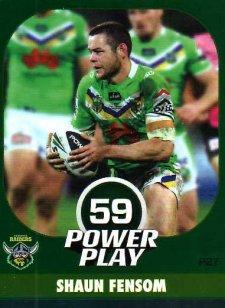 2015 NRL Power Play Parallel #27 Shaun Fensom Raiders