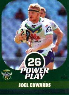2015 NRL Power Play Parallel #26 Joel Edwards Raiders