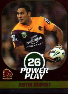 2015 NRL Power Play Parallel #4 Justin Hodges Broncos