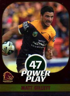 2015 NRL Power Play Parallel #2 Matt Gillett Broncos