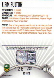2014 NRL Elite League Sensations Signature LS16 Liam Fulton Tigers #128/130