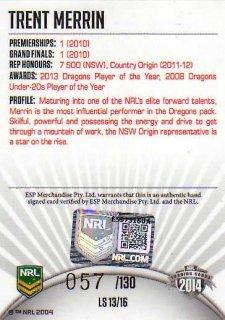 2014 NRL Elite League Sensations Signature LS13 Trent Merrin Dragons #57/130