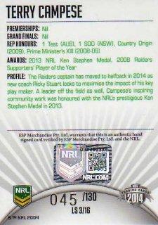2014 NRL Elite League Sensations Signature LS3 Terry Campese #45/130