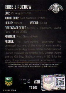 2014 NRL Elite Young Gun Signature YG8 Robbie Rochow Knights #124/130