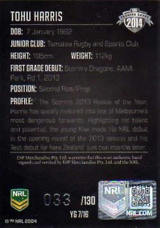 2014 NRL Elite Young Gun Signature YG7 Tohu Harris Storm #33/130