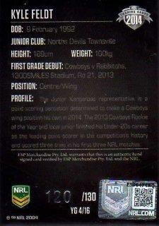 2014 NRL Elite Young Gun Signature YG4 Kyle Feldt Cowboys #120/130