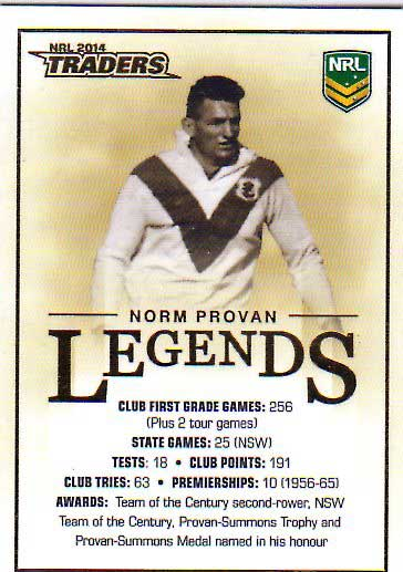 2014 NRL Traders Case Card #CC2 Norm Provan Dragons