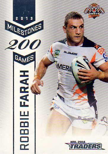 2014 NRL Traders Milestones #M16 Robbie Farrah Tigers