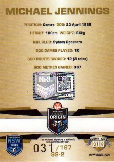 2013 NRL Limited Edition Signature Series SS2 Michael Jennings Roosters NSW #31/167