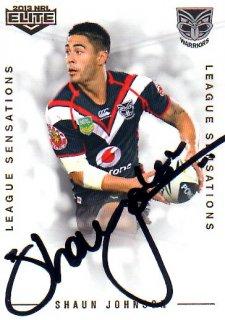 2013 NRL Elite League Sensations Signature LS15 Shaun Johnson Warriors #71/130
