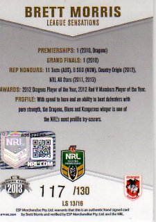 2013 NRL Elite League Sensations Signature LS13 Brett Morris Dragons #117/130