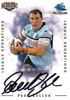 2013 NRL Elite League Sensations Signature LS11 Paul Gallen Sharks #79/130