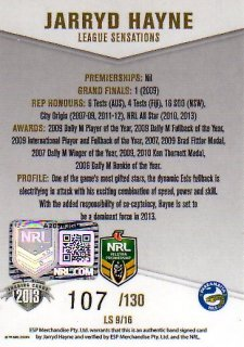 2013 NRL Elite League Sensations Signature LS9 Jarryd Hayne Eels #107/130