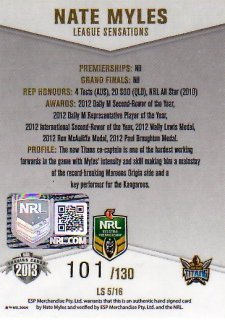 2013 NRL Elite League Sensations Signature LS5 Nate Myles Titans #101/130
